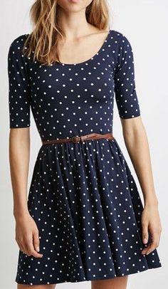 Navy Polka Dot Print Backless Belt Waist Skater Dress