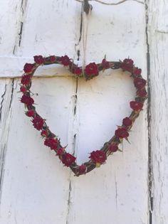 Dried Rose Heart Wreath, vine wreath, wedding decoration, rustic wedding, dried flowers, home decor, house warming by BellaPoppyFlowers on Etsy