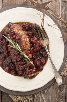 Pork tenderloin with a Maple Balsamic and Cranberry sauce - delicious and easy, it's perfect for holiday gatherings (or easy enough for weeknights!).