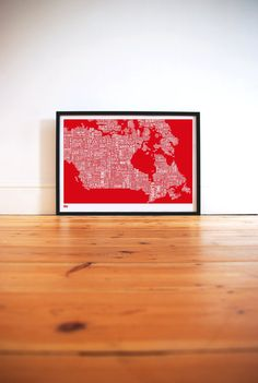 Canada Type Map in Poppy Red  decorative screen by boldandnoble, 69.00
