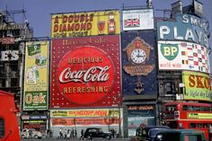 """A Kodachrome slide sent to us from Canada a few years back with the caption """"Piccadilly Circus, London, 1961."""" We loved """"The Music Man"""" but somehow missed seeing """"The Amorous Prawn."""" Shorpy Historic Picture Archive"""