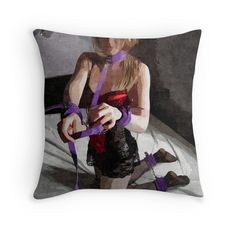 """Dirty Play, Girl in Lingerie, Cuffs and Black Stockings 2"" Throw Pillows by casemiroarts 