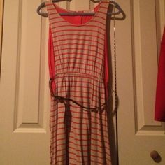 Striped dress Orange and tan dress. Only worn a couple times! Like new! Includes belt Pink Rose Dresses Midi