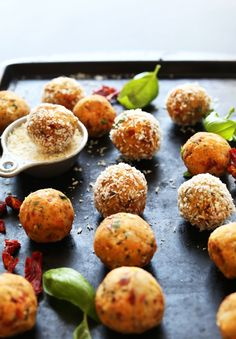 AMAZING EASY Chickpea Meatballs with Sun-dried Tomatoes and Basil! The perfect weeknight or special occasion #vegan meal!