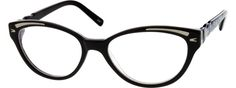 6367 Acetate Full-Rim Frame with Spring Hinges @ zennioptical.com - black plastic cat-eye frames with white lines at brow