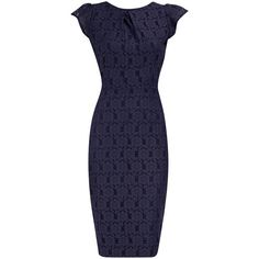 Navy lace pencil dress. Great for work. So many possible ensemble combinations to put together w/ this dress