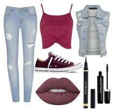 """Untitled #8"" by maribel-alejandra-lopez-delgado ❤ liked on Polyvore featuring Topshop, Converse, Lime Crime, Yves Saint Laurent and Marc Jacobs"
