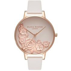 Olivia Burton Moulded Floral Bouquet Watch - Blush & Rose Gold ($170) ❤ liked on Polyvore featuring jewelry, watches, accessories, bracelets, pink gold watches, floral watches, rose gold wrist watch, dial watches and olivia burton watches