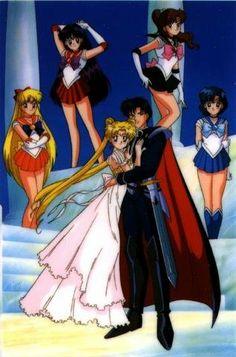 Prince Endymion, Princess Serenity, and the sailor senshi