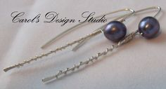 Beautiful grey Freshwater Pearl and Argentium Sterling Silver modern wirewrapped hoops #handmade #gifts