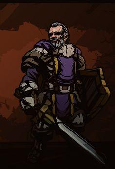 A stylized knight character (Darkest Dungeon inspired), Kevin Lee on ArtStation at https://www.artstation.com/artwork/lKJL5
