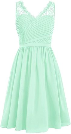 DRESSTELLS Short Homecoming Dress V-Neck Ruched Chiffon Bridesmaid Prom Dress Champagne Size 2 at Amazon Women's Clothing store: