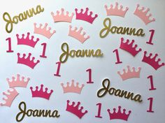 Personalized First Birthday Princess Confetti in Pink and Gold