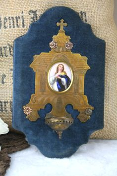 RARE French antique 1900 Miniature porcelain madonna holy water font plaque  | Collectibles, Religion & Spirituality, Christianity | eBay!