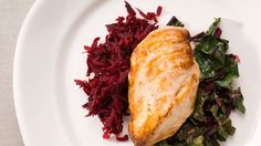Chicken, Grated Beets, and Beet Greens with Orange Butter Recipe | Bon Appetit