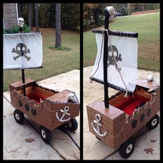 Pirate ship I made from a wagon. Awesome Halloween transportation for my nephew and his broken leg! See comment for how I made it...