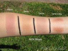 NYX blush, swatches ♡ I would love Taupe to use as a contour shade. Pale Skin Makeup, Makeup And Beauty Blog, Makeup To Buy, Blush Makeup, Beauty Products, Makeup 101, Makeup Inspo, Makeup Products, Makeup Ideas