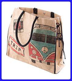 Mona B The Traveler BURLAP TOTE - Shoulder bags (*Amazon Partner-Link)