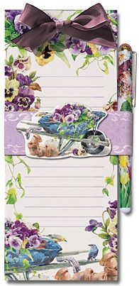 Pansy Magnetic Shopping List Pad and Pen