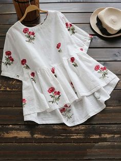 Sweet Floral Embroidery Low Blouse Shirt Women Ladies Short Sleeve White Tops O-Neck Casual Cute Blouse Blusas Cute Blouses, Shirt Blouses, Blouses For Women, Cheap Blouses, Kurta Designs, Blouse Designs, Girls Fashion Clothes, Fashion Outfits, Trendy Fashion