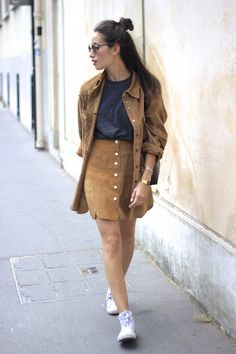 """justthedesign: """"Button up skirts have never looked better! Just pair them with a grey tee and brown suede shirt! Via Alexandra Guerain Skirt - Episode, Shirt - Episode, Top - Topman, Sneakers -..."""