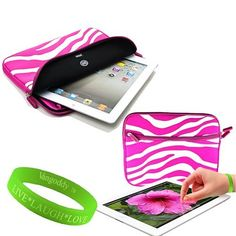 """VanGoddy Apple iPad Accessories Electric Pink Zebra Print Neoprene Glove Case for the BRAND NEW The NEW Apple iPad (3rd Generation) + VanGoddy LIVE * LAUGH * LOVE Wristband by VG. $11.99. **Guaranteed to fit your Apple iPad (3rd Generation)!!!** The VanGoddy line of high-quality iPad accessories is proud to introduce our sleek, super-fashionable neoprene """"Glove"""" case designed to fit the brand new Apple iPad3!!! This exclusive case will allow you to carry your iPad worry-free..."""