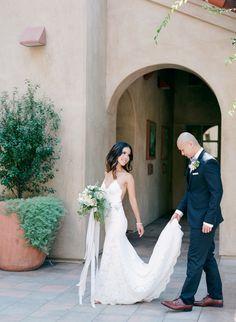 All lace Katie May wedding dress: http://www.stylemepretty.com/california-weddings/san-juan-capistrano/2016/11/14/modern-rustic-chic-wedding-in-california/ Photography: Hello Blue - http://hellobluephoto.com/
