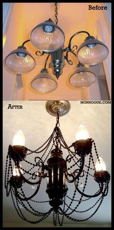 Diy chandelier, light fixture makeover