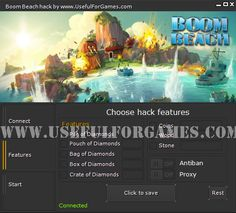With Boom Beach hack you can add Diamonds, Wood, Stone and Coins. All features in one program. Simply download hack and check out. http://usefulforgames.com/boom-beach-hack-cheats-tool