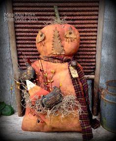 Primitive Folk Art Pumpkin Pocket Doll-Door Greeter-Fall-Shelf Sitter-Cats, Candy Corn, Autumn, Halloween, Harvest, Hafair Team, FAAP by MeadowForkPrims on Etsy