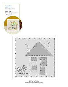Sewing pattern for Happy New Home Card | Carrie Ferrier | October 2014 | Paper Crafts & Scrapbooking
