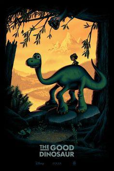 Mark Englert The Good Dinosaur Movie Poster Dinosaur Movie, Dinosaur Posters, The Good Dinosaur, Dinosaur Birthday, Disney Movie Posters, Disney Pixar Movies, Arlo Und Spot, Disney Fanatic, Alternative Movie Posters