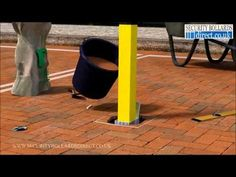How to install and use a removable, lift out parking post on a private parking space. - YouTube