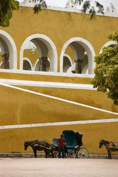 Ride a horse drawn carriage in Izamal, Yucatán #Mexico #Travel #Yucatan…