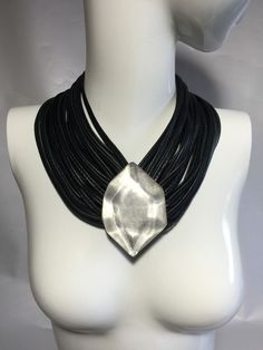 Danish Monies Gerda Lynggaard 20 Strands Leather Necklace Silver Pendants #Monies #BodyNecklace