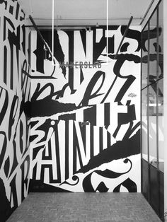 Lettering mural for , A Sneaker Club based in Luxembourg. Concept, interior design, branding & communication by Nightingale . Interior Photography: Kris Dekeijser Commissioned by Nightingale . Room Wall Painting, Mural Wall Art, Environmental Graphics, Environmental Design, Signage Display, Signage Design, Office Graphics, Recording Studio Design, Urban Graffiti