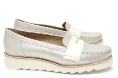 Chaussures Femme Mocassins Printemps Eté 2015 Maurice Manufacture BAUDO Razza argent - Verni blanc