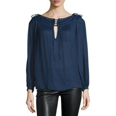 Zadig & Voltaire Tirate Deluxe Tie-Front Top ($300) ❤ liked on Polyvore featuring tops, tunics, marine, blue tunic, lace up front top, lace up top, long sleeve kaftan and long sleeve tunic