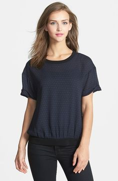 Halogen® Open Back Woven Print Tee (Regular & Petite) available at #Nordstrom