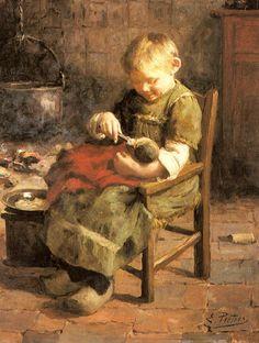 Evert Pieters (1856 – 1932, Dutch)  The Doll's Supper