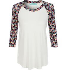 LE3NO Womens Lightweight Round Neck Floral Raglan T Shirt ($21) ❤ liked on Polyvore featuring tops and t-shirts