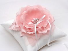 Wedding ring pillow  pink ring pillow off white ring di mirino