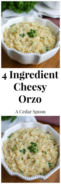 4 Ingredient Cheesy Orzo - so good