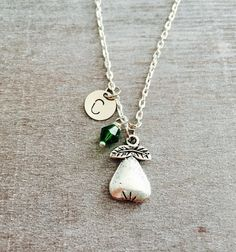 FREE SHIPPING Oxidsed Silver Plated Necklace Pear by SAjolie