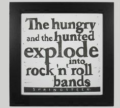 Bruce Springsteen Jungleland lyric linocut relief print by VideoUnit12