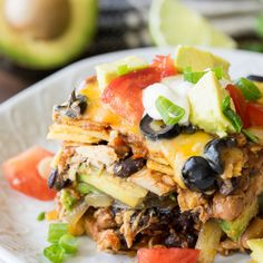 Chicken Enchilada Casserole Recipe is a super simple weeknight dinner that's filled with shredded chicken, sliced avocado and black beans! Chicken Enchilada Casserole Recipe is a dinner that my mother Easy Chicken Enchilada Casserole, Tamale Casserole, Casserole Dishes, Casserole Recipes, Noodle Casserole, Enchilada Sauce, Enchilada Recipes, Chicken Tamales, Chicken Enchiladas