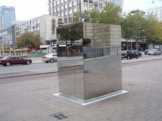 """public-one-way-mirror-bathroom....the answer to the unsightly public restroom in the middle of town...the mirrored walls helps it """"blend in""""...you can look OUT but they can't look IN..See picture from the other view in this board...."""