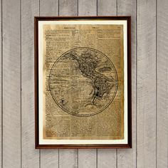 Lovely world map print on handmade antique paper. 8.3 x 11.7 inches (A4) antique poster. Rustic decor for your home and office. BUY 1 GET 1 FREE -