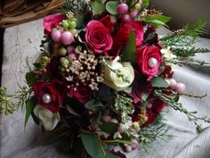 raspberry rose and snowberry bouquet with waxflower and eucalyptus - stunning!