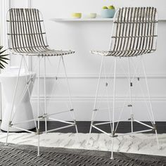 This contemporary wicker bar stool captures sleek, elegant style worthy of notice. Crafted from wicker with a luxuriant white wash finish, this modern bar stool features graphic lines with sculptural metal legs, adding a stylish touch to any room. Wicker Bar Stools, Modern Bar Stools, Counter Stools, Bar Counter, Bar Furniture, Modern Furniture, Furniture Design, Avalon Furniture, Furniture Outlet